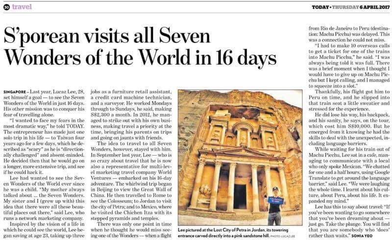 Singaporean Visits All 7 Wonders of the World in 16 Days